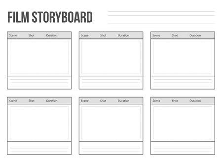 Creatieve vectorillustratie van professionele film storyboard mockup geïsoleerd op transparante achtergrond. Art design film verhaal bord lay-out sjabloon. Abstract concepten grafisch schot en scèneelement