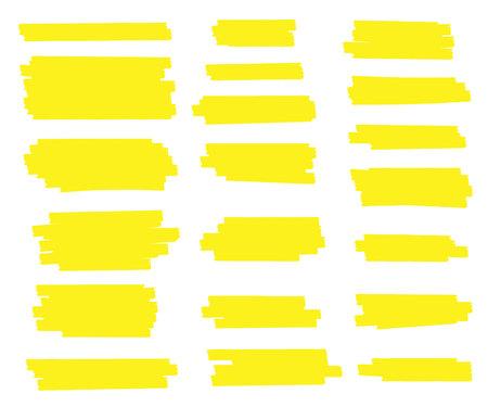 Illustration vectorielle créative des traits de tache, lignes de marqueur japon jaune surligné dessinés à la main, rayures de pinceaux isolés sur fond transparent. Conception d'art. Élément graphique élégant concept abstrait Vecteurs