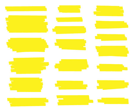 Kreative Vektorillustration von Fleckanschlägen, Hand gezeichnete gelbe Höhepunktjapan-Markierungslinien, Bürstenstreifen lokalisiert auf transparentem Hintergrund. Kunstdesign. Grafisches stilvolles Element des abstrakten Begriffs Vektorgrafik