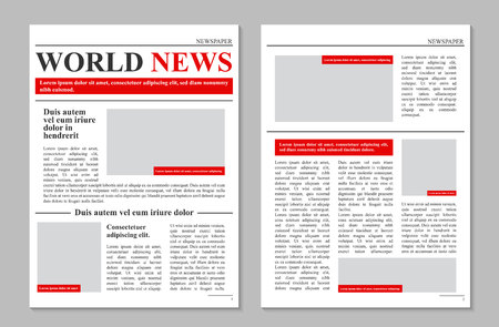 Creative vector illustration of daily newspaper journal, business promotional news isolated on transparent background. Art design mockup template. Abstract concept graphic typographic print element Ilustração