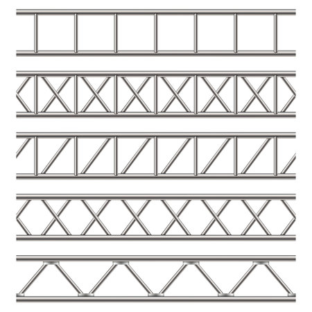 Creative vector illustration of steel truss girder, pipes isolated on transparent background. Art design horizontal metal construction structure for billboard. Abstract concept graphic element.