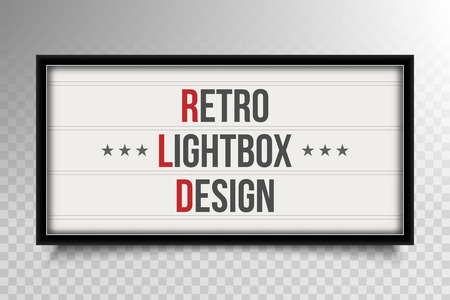 Creative vector illustration of glowing cinema signboard, retro light box isolated on transparent background. Art design light vintage billboard banner template. Abstract cinema and theater element. Vettoriali