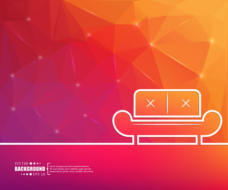 Sofa in white line on gradient background. Illustration