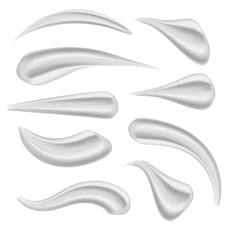 Creative vector illustration of various strokes beauty face cosmetic white cream texture set isolated on white background. Art design gel or foam drop. Abstract concept graphic element.