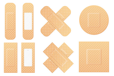 Creative vector illustration of adhesive bandage elastic medical plasters set isolated on transparent background. Art design medical elastic patch. Abstract concept graphic different shape element