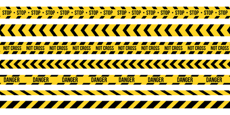 Creative vector illustration of black and yellow police stripe border. Set of danger caution seamless tapes. Art design line of crime places. Abstract concept graphic element. Construction sign