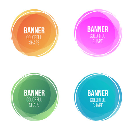 Creative vector illustration of colorful round abstract banners. Overlay colors shape art design. Fun label form. Paper style spots. Abstract concept graphic tag element for advertisements or printing