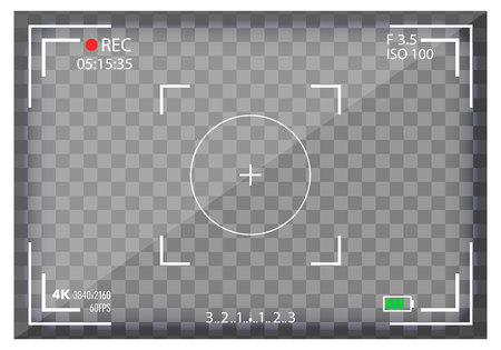 Creative vector illustration of camera viewfinder isolated on background. Art design mirorless, DSLR. Digital focus. Abstract concept graphic element screen photo frame. Exposure settings.