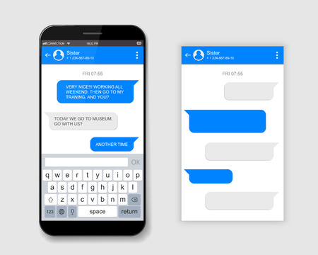 Creative vector illustration of messenger window. Social network talking art design. Mobile phone live chat boxes. Smartphone online app. Compose dialogues mockup. Abstract concept graphic element. Иллюстрация