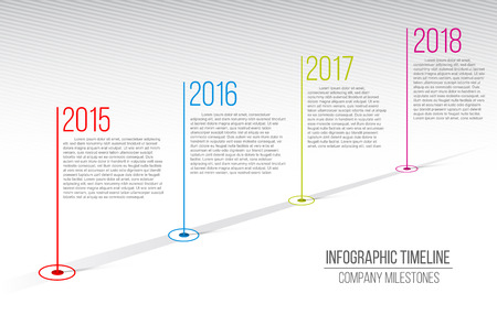 Creative vector illustration of company milestones timeline. Template with pointers. Curved road line art design with information placeholders. Abstract concept graphic element. History chart.  イラスト・ベクター素材