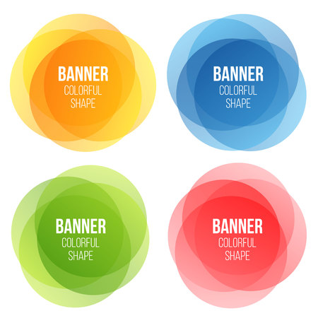 Creative vector illustration of colorful round abstract banners. Overlay colors shape art design. Fun label form. Paper style spot. Abstract concept graphic tag element for advertisements or printing. Ilustrace
