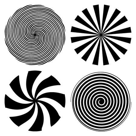 Illustration vectorielle créative de spirale psychédélique hypnotique. Art design rayons radiaux, virevolter, tordu, sunburst, vortex Élément graphique de concept abstrait. Effet comique Vecteurs