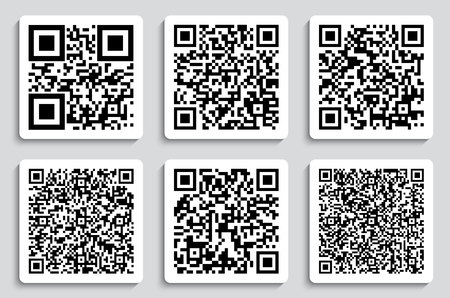 Creative vector illustration of QR codes, packaging labels, bar code on stickers.