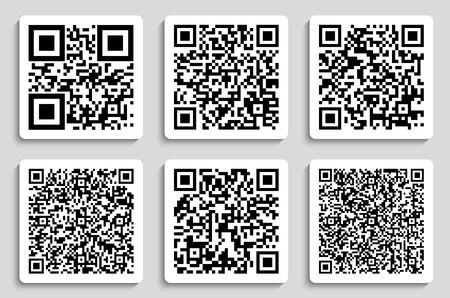 Ilustración de vector creativo de códigos QR, etiquetas de embalaje, código de barras en pegatinas.
