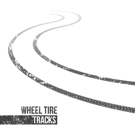 Creative vector illustration of wheel tire tracks. Winding trace art design. Abstract concept graphic ink element. Silhouette pattern