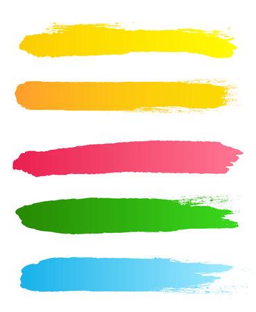 Illustrazione vettoriale creativo di tratti di pennello ruvido nero del grunge isolato su priorità bassa. Macchie di design artistico. Elemento di banner grafico concetto astratto. Vettoriali