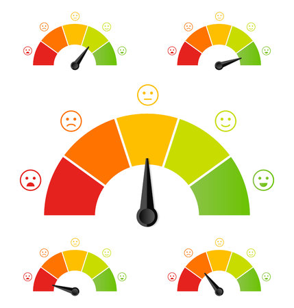 Creative vector illustration of rating customer satisfaction meter. Different emotions art design from red to green. Abstract concept graphic element of tachometer, speedometer, indicators, score.