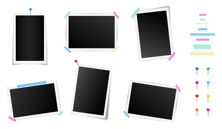 Creative vector illustration set of square photo frame with shadows isolated on background. Retro art design. Realistic mockups. Color adhesive tapes, push pins. Abstract concept graphic element. 向量圖像