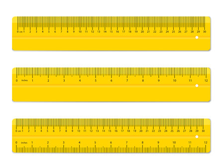 Creative vector illustration of realistic colorful rulers isolated on background. Art design measuring tool supplies. Abstract concept graphic element. Banco de Imagens - 101255347