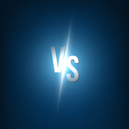 Creative vector illustration of glow versus background. VS logo art design for competition, fight, sport match, event, game, video, dance, singer. Abstract concept graphic element.