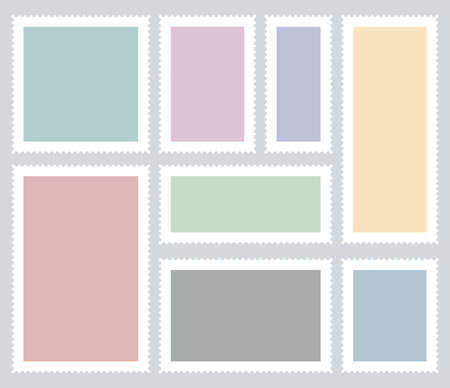 Creative vector illustration of blank postage stamps set isolated on background. Art design templates with place for your images and text. Abstract concept graphic element for mail, post card Ilustrace