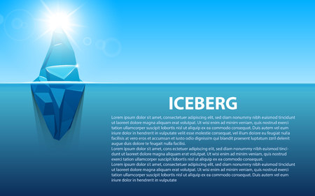 Creative vector illustration of under water antarctic ocean iceberg. Art design infographic template. Hidden danger of global warming of Abstract concept graphic for business metaphor polar element