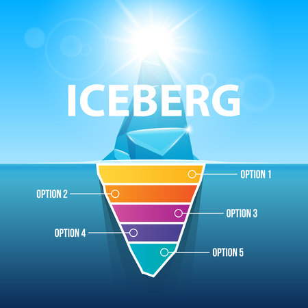 Creative vector illustration of under water antarctic ocean iceberg. Art design infographic template. Hidden danger of global warming of Abstract concept graphic for business metaphor polar element.