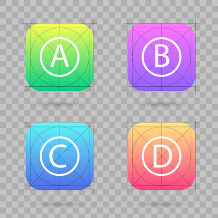 Creative vector illustration set of app icon template with guidelines, grids isolated on background. Art design interfaces and applications. Abstract concept graphic element for web and mobile button