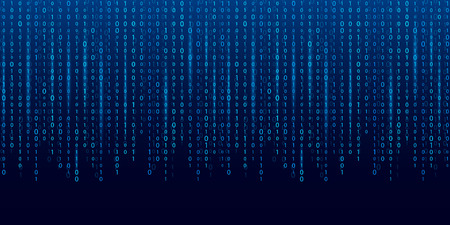 Illustration vectorielle créative du flux de code binaire. Conception d'art de fond de matrice d'ordinateur. Chiffres à l'écran. Données graphiques de concept abstrait, technologie, décryptage, algorithme, élément de cryptage