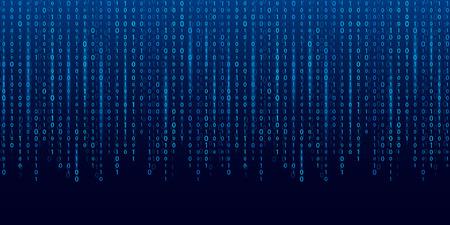 Illustrazione vettoriale creativo del flusso di codice binario. Progettazione di arte della priorità bassa della matrice del computer. Cifre sullo schermo. Dati grafici di concetto astratto, tecnologia, decrittazione, algoritmo, elemento di crittografia