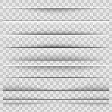 Ilustración de vector creativo de separadores de sombra de papel realistas aislados sobre fondo transparente. Conjunto de efectos de diseño de arte. Elemento gráfico concepto abstracto