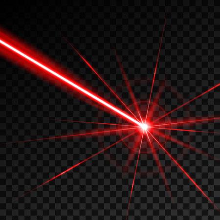 Kreative Vektorillustration des Lasersicherheitsstrahls lokalisiert auf transparentem Hintergrund. Kunstdesign leuchtet Lichtstrahl. Grafisches Element des abstrakten Konzepts der Neonlinie des Glühzielblitzes