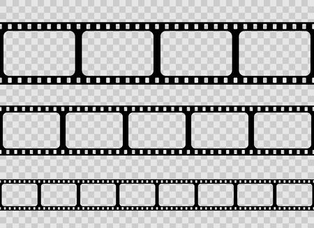 Illustration vectorielle créative de l'ancien ensemble de cadres de bande de film rétro isolé sur fond transparent. Modèle de pellicule de cinéma de bobine de conception d'art. Élément graphique concept abstrait