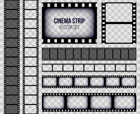 Illustrazione vettoriale creativo del vecchio set di frame striscia di pellicola retrò isolato su sfondo trasparente. Modello di pellicola cinematografica di bobina di design artistico. Elemento grafico di concetto astratto