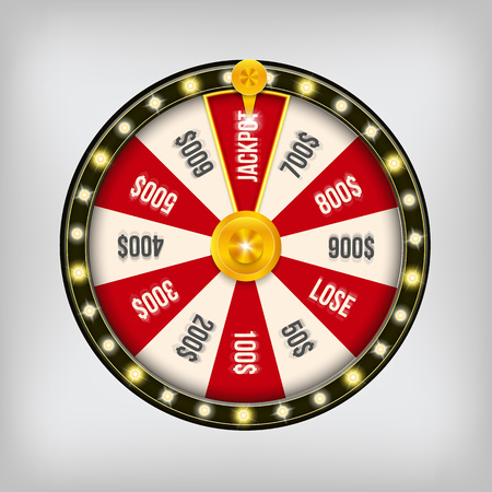 Creative vector illustration of 3d fortune spinning wheel. Lucky roulette win jackpot in casino art design. Abstract concept graphic gambling element