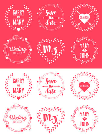 Creative vector illustration of save the date wedding witn name set isolated on background. Art design floral logo templates. Abstract concept graphic invitation card, flyer, banner element 스톡 콘텐츠 - 102591218