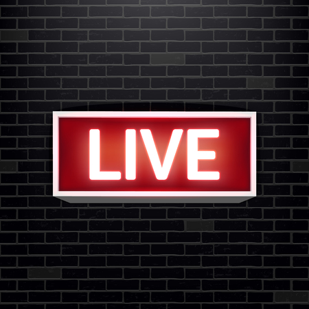 Creative vector illustration of on air live glowing sign isolated on background. Art design tv, radio station, broadcast symbol. Lit on warning board message. Abstract concept graphic element Ilustrace
