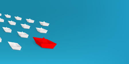 Creative vector illustration of 3d red paper ship leading among white isolated on background. Business leadership different boat art design . Abstract concept graphic element with copy space