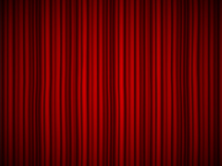 Creative vector illustration of stage with luxury scarlet red silk velvet drapes and fabric curtains isolated on background. Art design. Concept element for music party, theater, circus, show Vettoriali