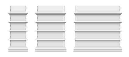 Ilustración de vector creativo de estantes de las tiendas vacías aisladas sobre fondo. Diseño de arte de estantería minorista. Elemento de visualización de escaparate gráfico de concepto abstracto. Maqueta en blanco de publicidad de productos de supermercado
