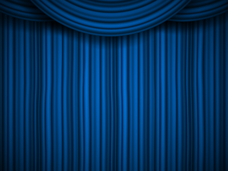 Creative vector illustration of stage with luxury scarlet red silk velvet drapes and fabric curtains isolated on background. Art design. Concept element for music party, theater, circus, show Illustration