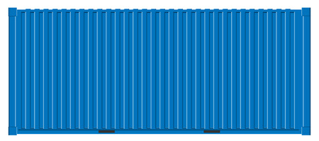 Creative vector illustration of sea freigh cargo containers views from different sides collection isolated on background. Art design realistic set. Shipping, transportation element for logistics