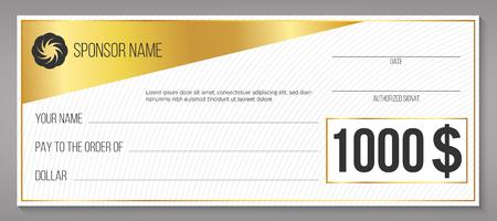 Ilustracja wektorowa Creative płatności zdarzenie wygrywające czek na białym tle na tle. Projekt sztuki pusta pusta makieta. Element graficzny loterii abstrakcyjna koncepcja