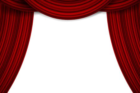 Illustration vectorielle créative de la scène avec des rideaux de velours de soie rouge écarlate de luxe et des rideaux en tissu isolés sur fond. Conception d'art. Élément de concept pour la fête de la musique, le théâtre, le cirque, l'opéra, le spectacle