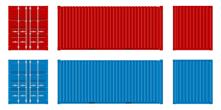 Creative vector illustration of sea freigh cargo containers views from different sides collection isolated on background. Art design realistic set. Shipping, transportation element for logistics.