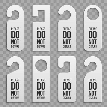 Illustration vectorielle créative de cintres de serrure de poignée de porte en papier plastique réaliste ensemble isolé sur fond. Maquette vierge de conception d'art. Pour le texte - ne pas déranger. Élément graphique concept abstrait