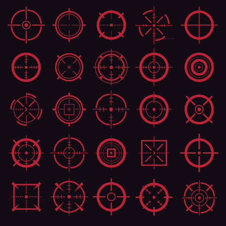 Creative vector illustration of crosshairs icon set isolated on transparent background. Art design. Target aim and aiming to bullseye signs symbol. Abstract concept graphic games shooters element Standard-Bild - 102998513