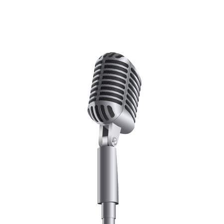 Creative vector illustration of retro vintage concert microphones on stand isolated on transparent background. Art design. Abstract concept graphic music element Foto de archivo - 102998725