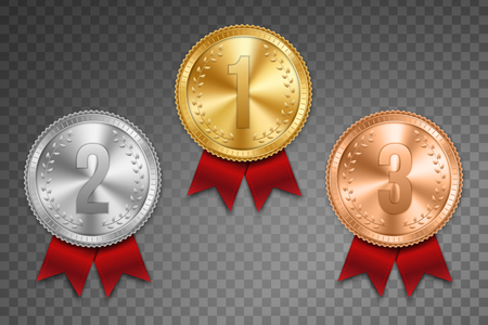 Creative vector illustration of realistic gold, silver and bronze medal set on colorful ribbon isolated on transparent background. Art design placement in sport competition contest. Graphic element