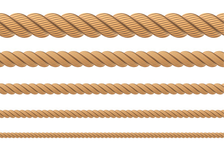 Creative vector illustration of realistic nautical twisted rope knots, loops for decoration and covering isolated on transparent background. Retro vintage art design. Abstract concept graphic element